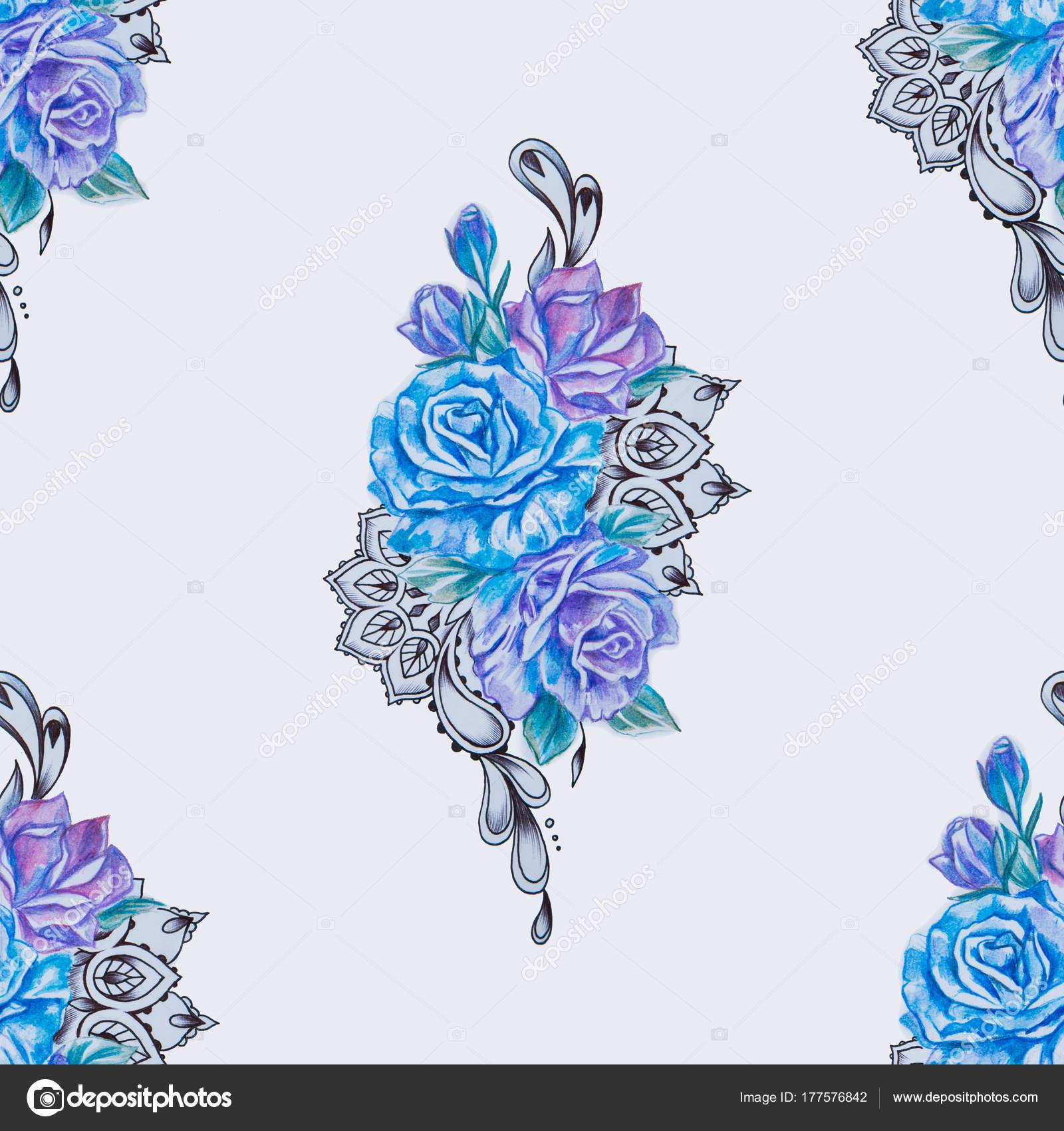 Patrón Sin Fisuras De Hermosas Rosas Azules Y Púrpuras Sobre Fondo