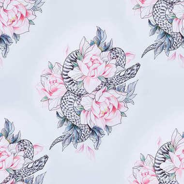 Seamless pattern of a snake in red flowers on a white background.