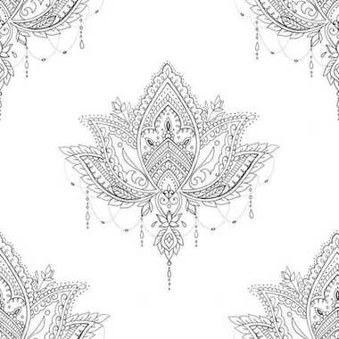 Seamless pattern lotus with ornaments on a white background.