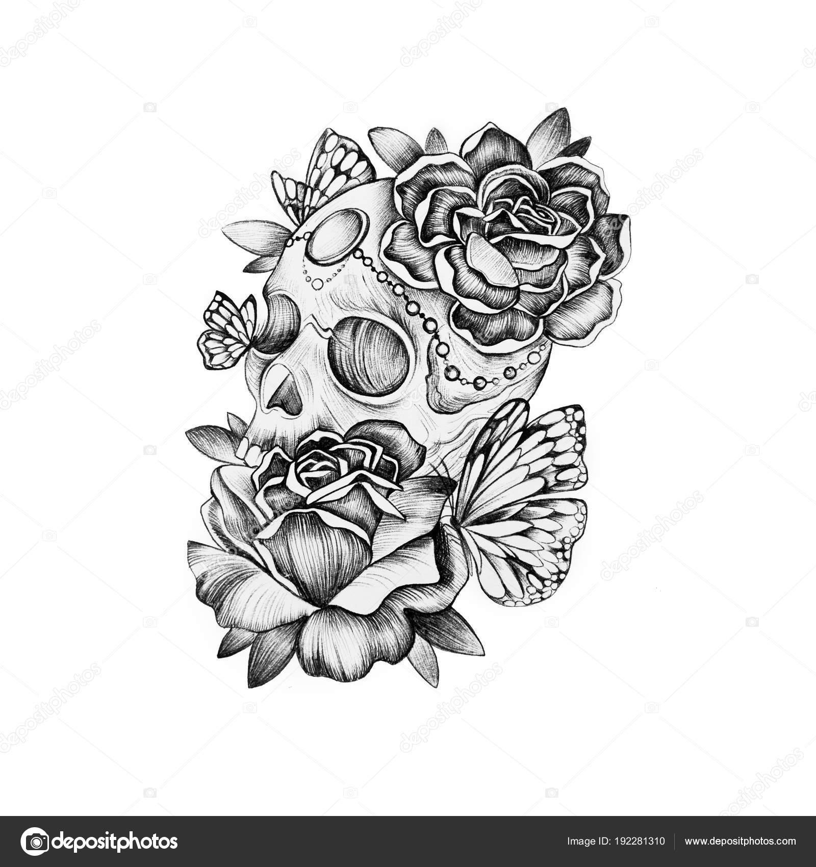 Dibujos Calaveras Con Rosas Bosquejo Del Cráneo En Flores Sobre