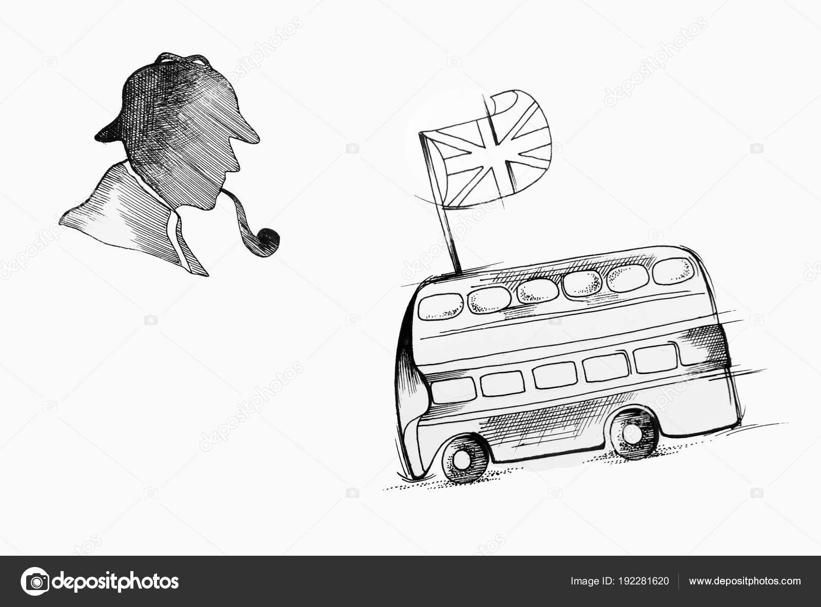 eine skizze silhouette von sherlock holmes und englisch bus auf weissem hintergrund foto von nookphoto mail ru