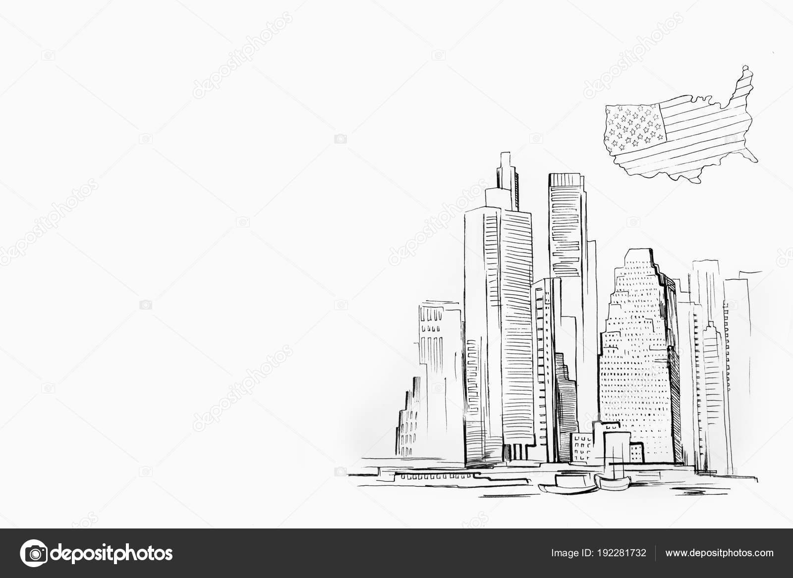 Bosquejo de rascacielos sobre fondo blanco. Manhattan y el mapa de ...