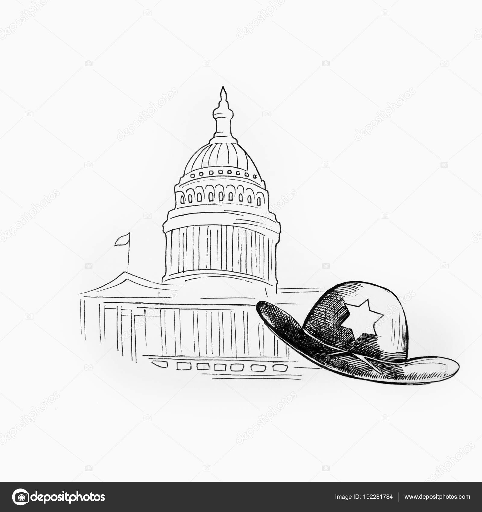 07aae8b6 Sketch of a white house and a sheriffs hat on a white background ...