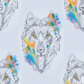Photo Seamless drawing of a wolf head on a white background.
