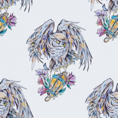 Seamless pattern crescent with lotus on a white background.