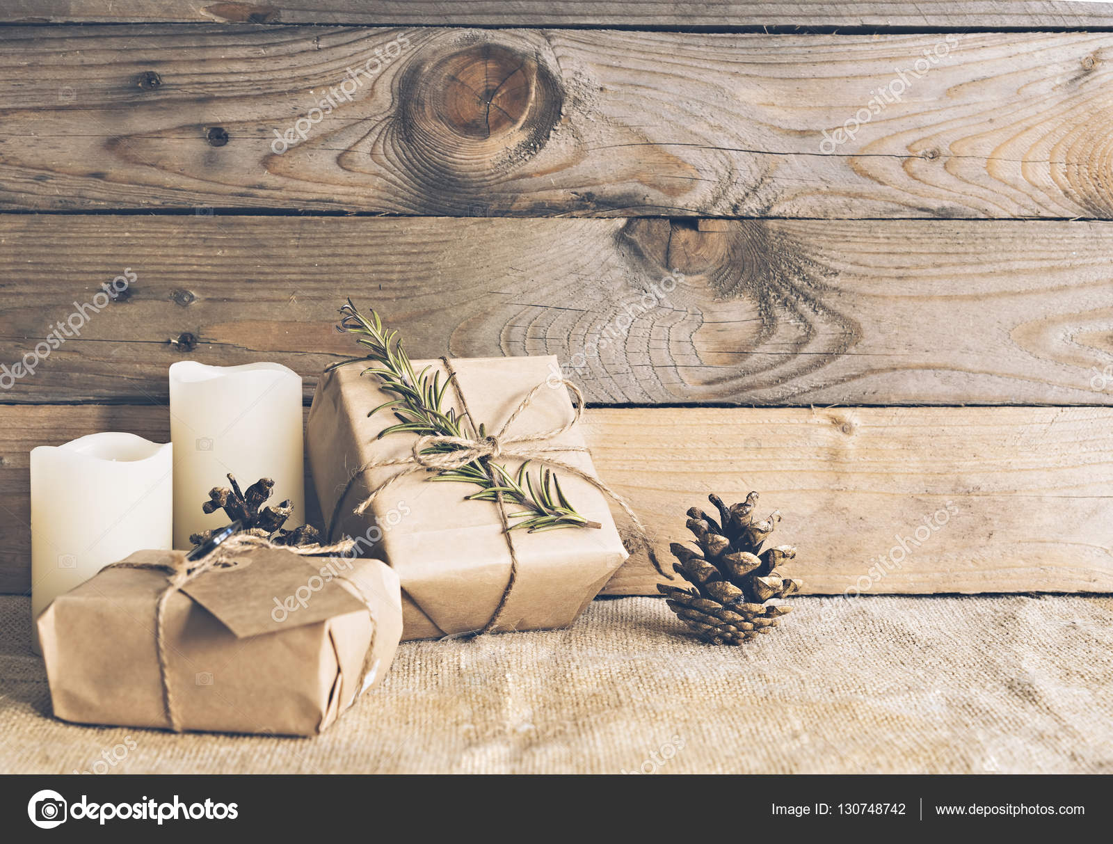 Rustic Christmas Scene Stock Photo