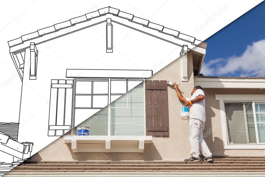 Schermo diviso diagonale di disegno e fotografia del for Disegno del programma di casa