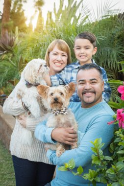 Outdoor Mixed Race Family Portrait