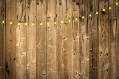 Lustrous Wooden Background with String of Lights