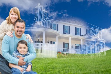 Young Mixed Race Family and Ghosted House Drawing on Grass