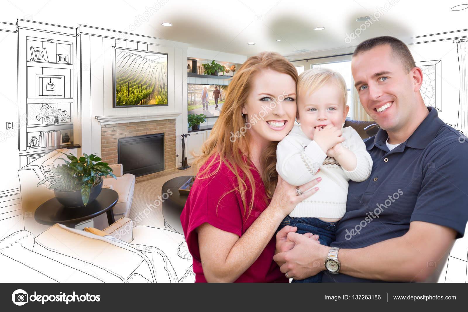 Famiglia militare di fronte soggiorno disegno foto Combinatio — Foto ...
