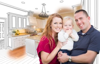 Military Family In Front of Kitchen Drawing Photo Combination