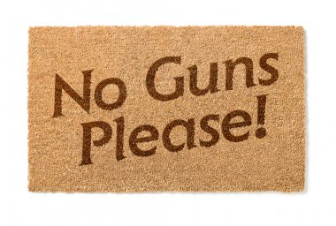 No Guns Please Welcome Mat On White