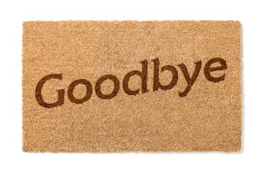 Goodbye Welcome Mat on White