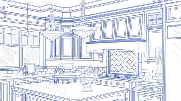 Gyönyörű egyedi konyha rajz befejezését átmenet.