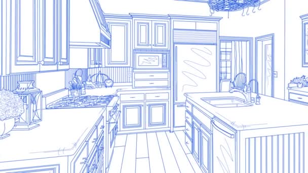 Přechod krásné vlastní kuchyně od výkresu k dokončení