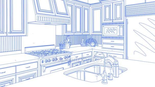 Přechod krásné vlastní kuchyně od výkresu k dokončení.