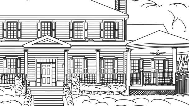 Přechod z krásné vlastní domov od výkresu k dokončení.
