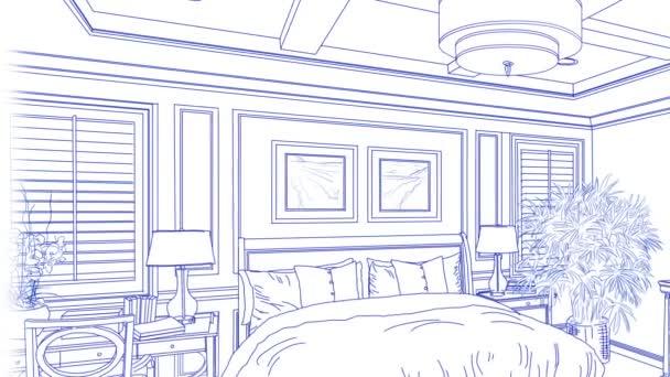 Přechod z krásné vlastní ložnici od výkresu k dokončení
