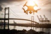 Fotografie Silueta bezpilotní letouny (Uav) systém Kvadrokoptéra Drone v