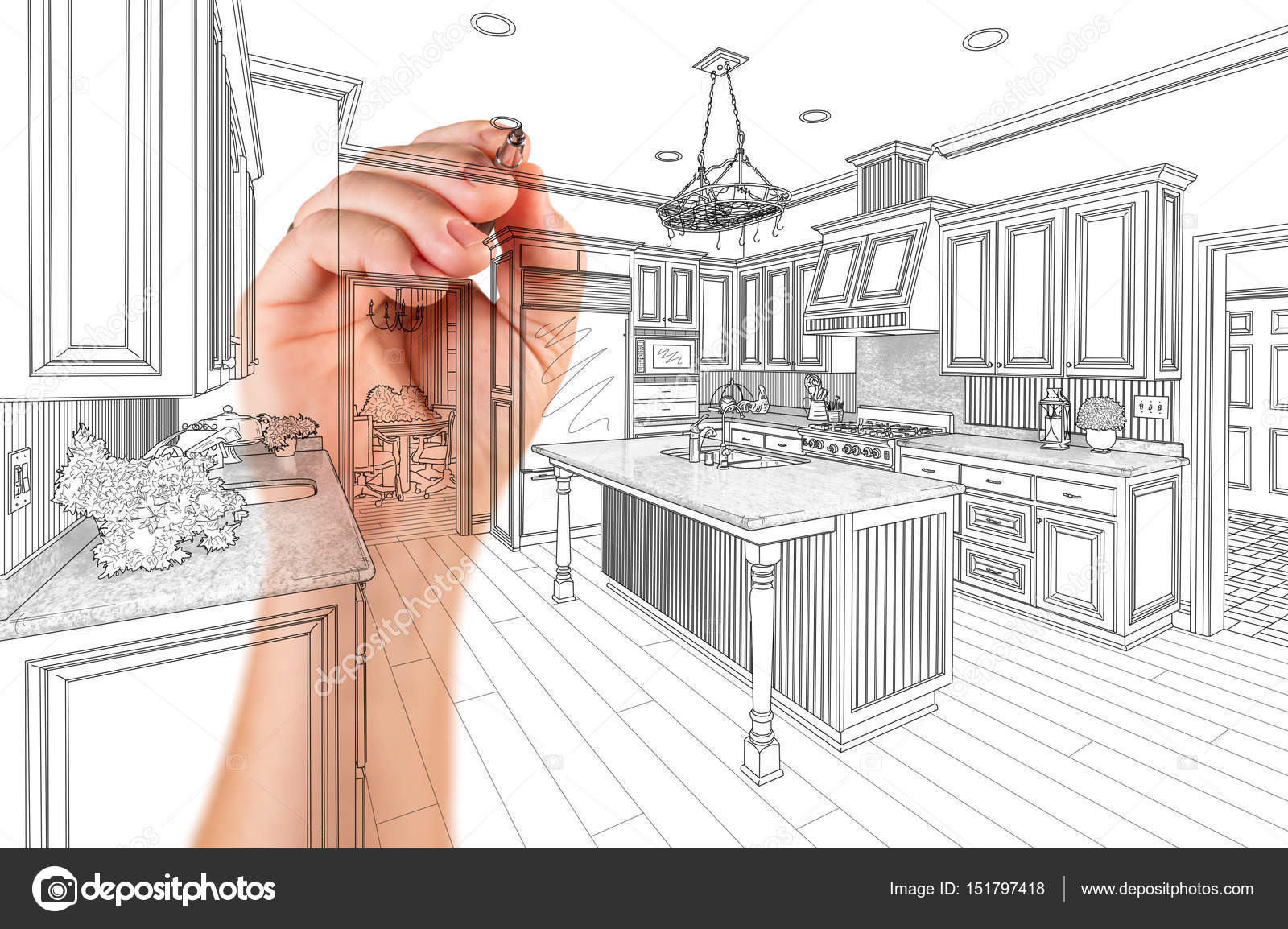Hand des Architekten Zeichnung Detail kundenspezifische Küche Design ...