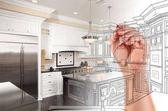 Ruční kreslení vlastní kuchyně Design s nárůstem odhalující Phot
