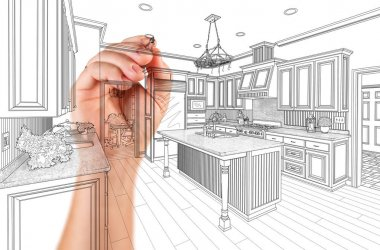 Hand of Architect Drawing Detail of Custom Kitchen Design