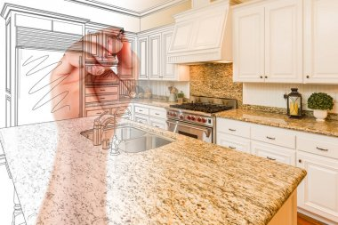 Hand Drawing Custom Kitchen Design With Gradation Revealing Phot