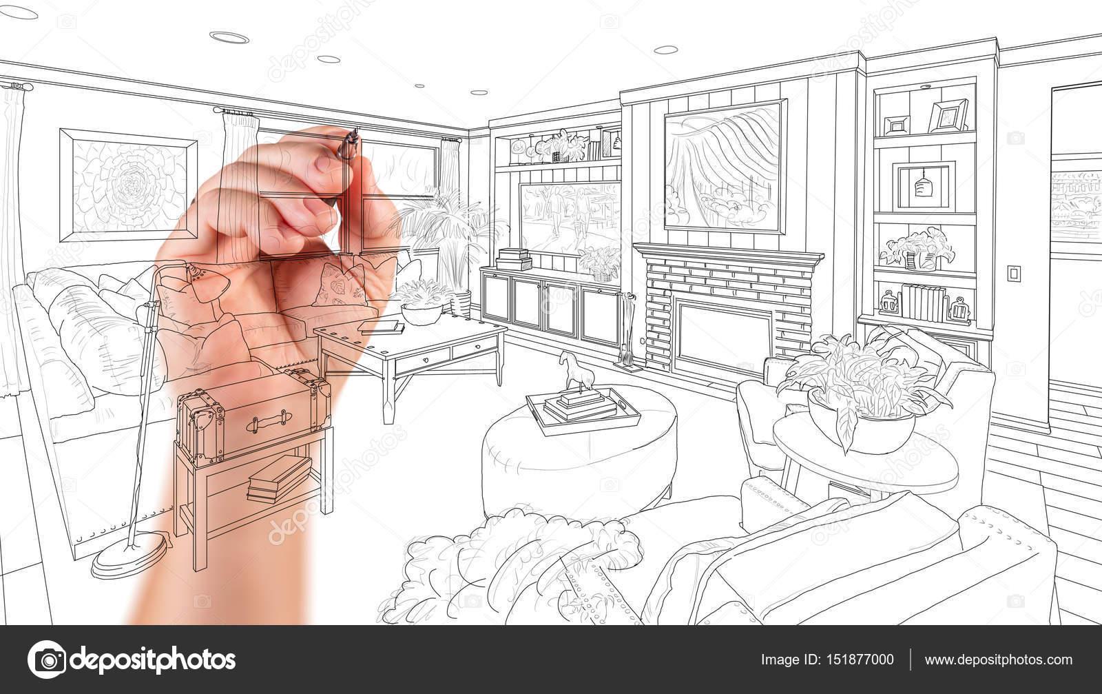 Aangepaste woonkamer Design van de tekening van de hand op een witte ...