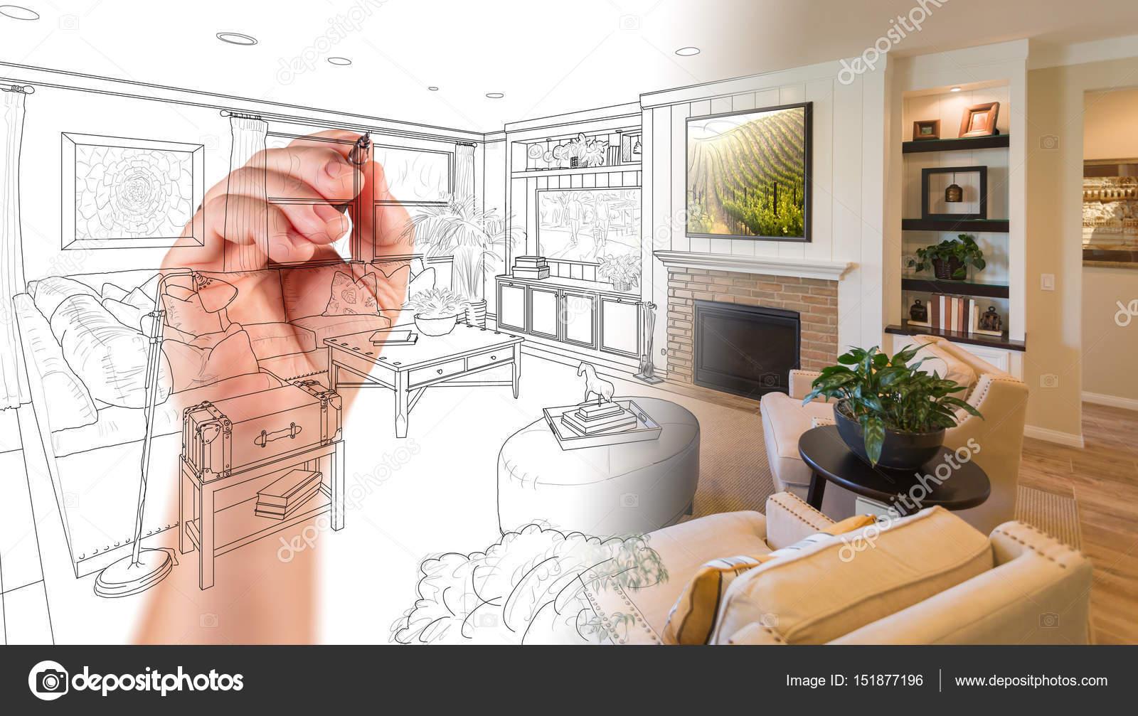 Hand Drawing Custom Living Room Design With Gradation Revealing Stock Photo