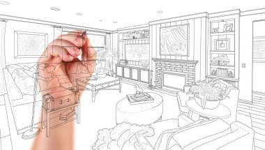 Hand Drawing Custom Living Room Design On A White Background.