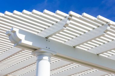 Beautiful House Patio Cover Against the Blue Sky.