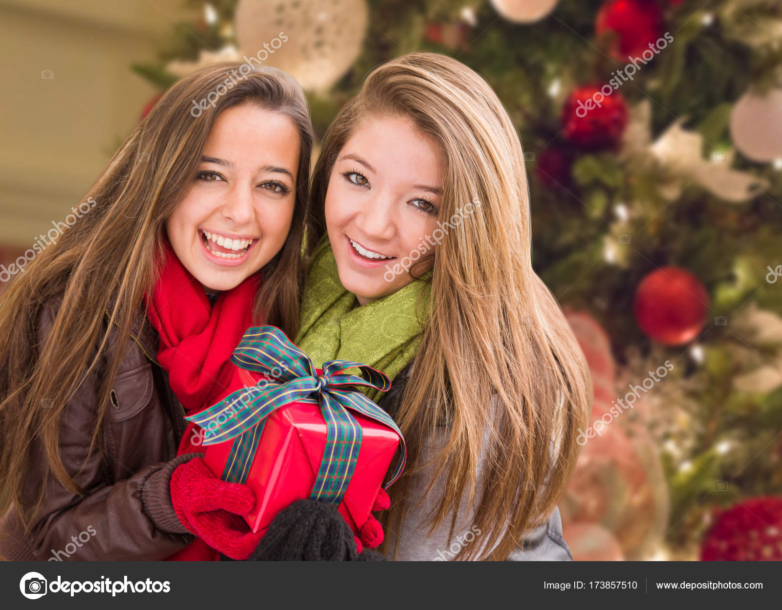 Mixed Race Young Adult Females Holding A Christmas Gift In Front Of ...
