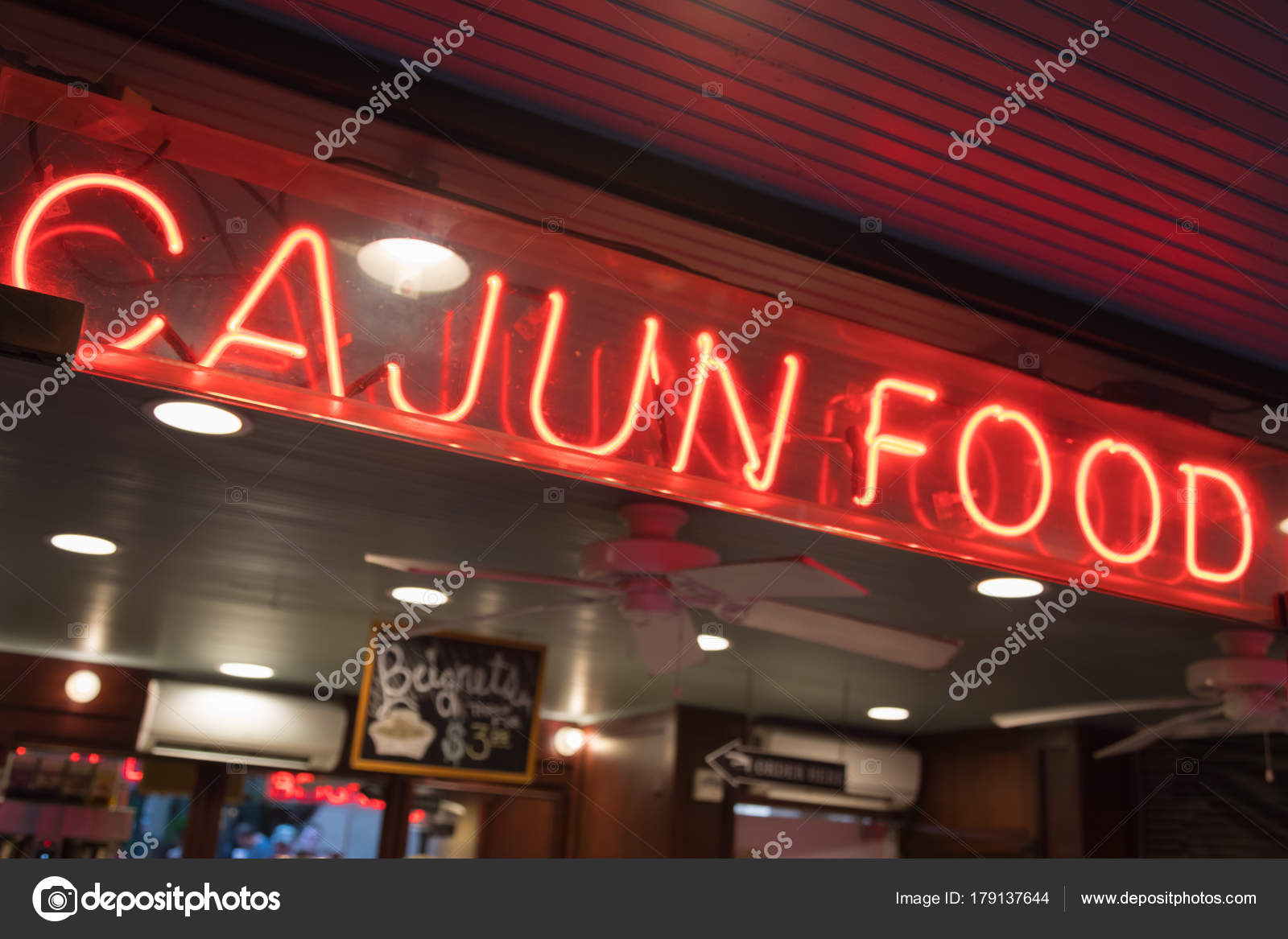 Cajun Food Neon Sign In New Orleans Louisiana Restaurant