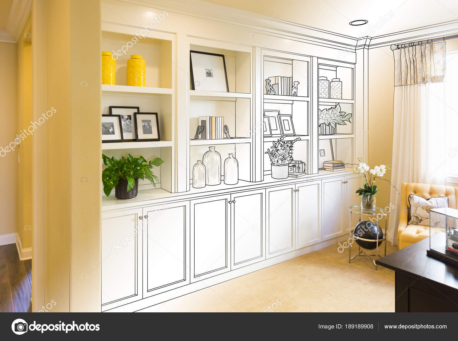Custom Built-in Shelves and Cabinets Design Drawing Gradating to ...