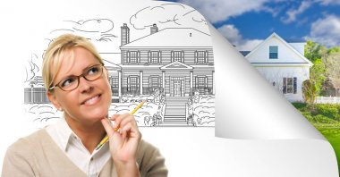 Woman Facing House Drawing Page Corner Flipping with Photo Behind. stock vector