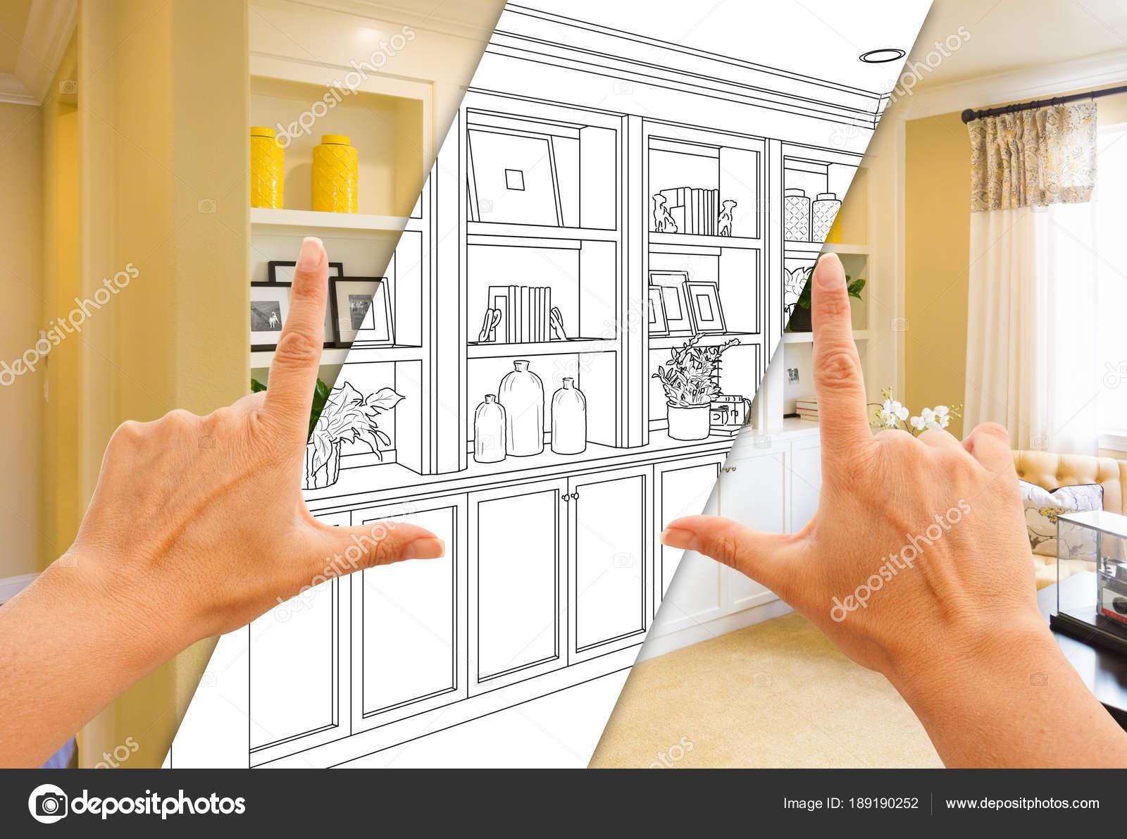 Manos encuadre personalizados incorporados estantes y armarios de ...