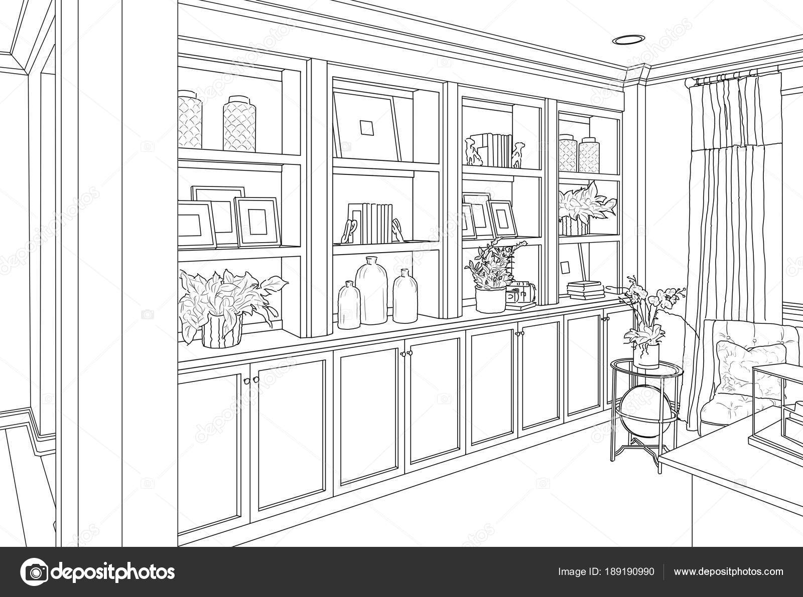 Detailed Drawing of Custom Living Room Built-in Shelves and Cabinets ...