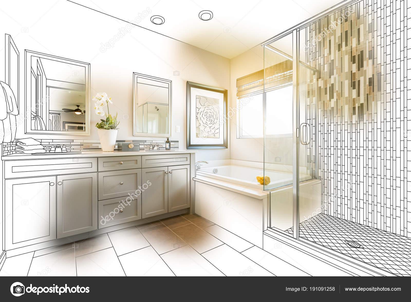Aangepaste Master badkamer ontwerp tekening met penseelstreek ...
