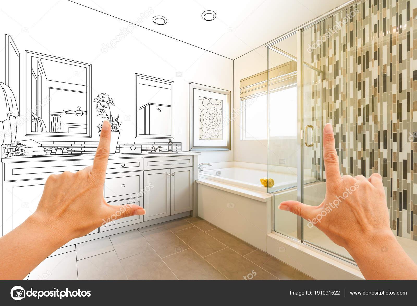 Manos baño enmarcado personalizado principal dibujo y Foto de ...