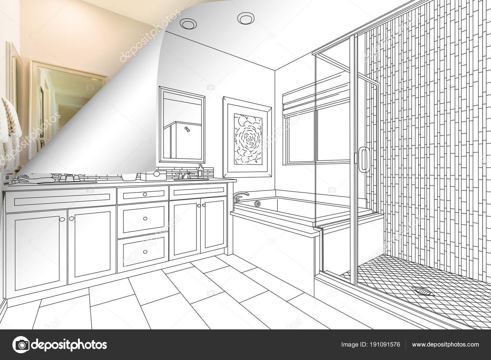 Master-Badezimmer zeichnen Seitenecke spiegeln mit Foto hinter ...