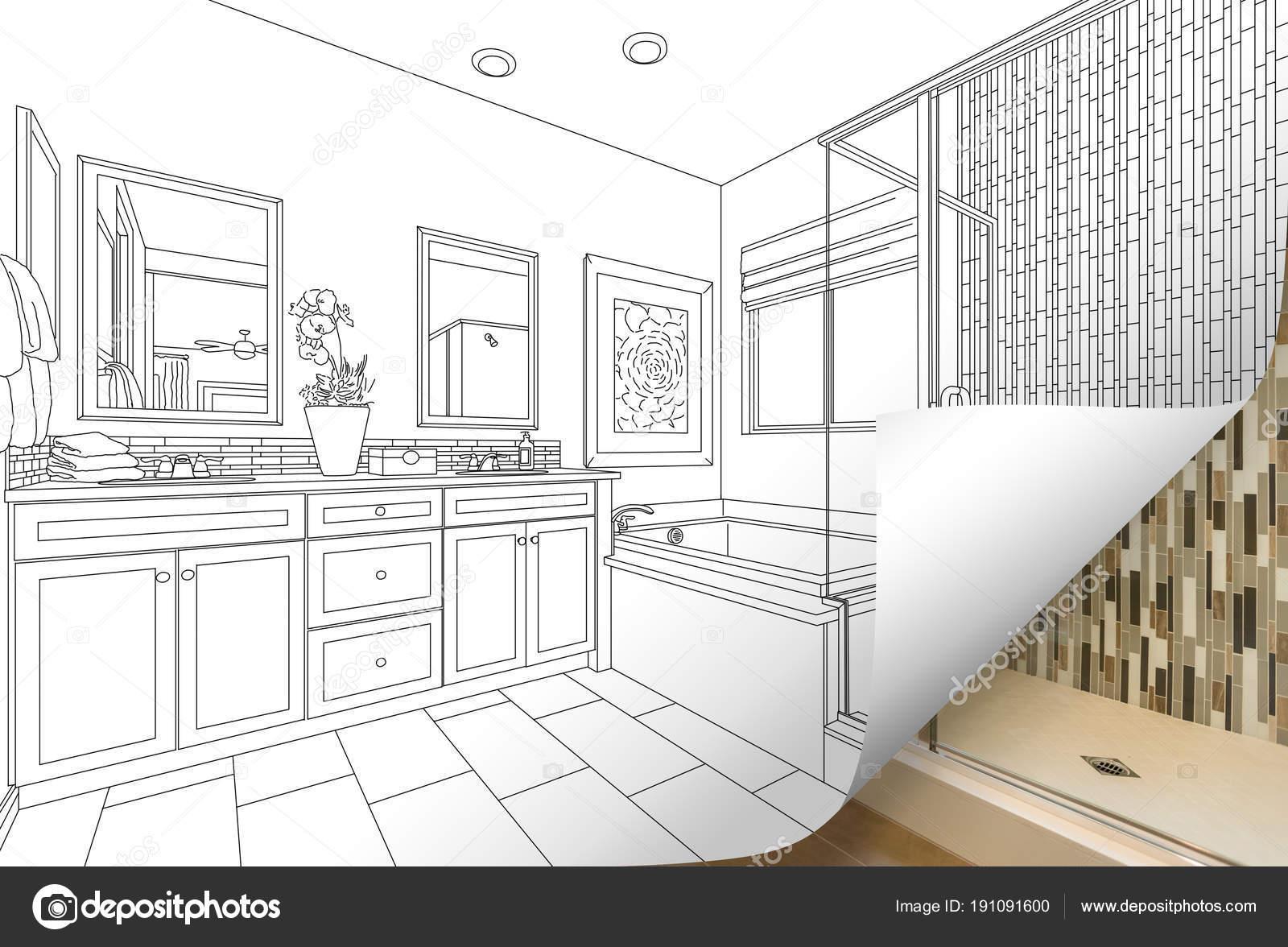 Master Badezimmer Zeichnen Seitenecke Spiegeln Mit Foto Hinter U2014 Stockfoto