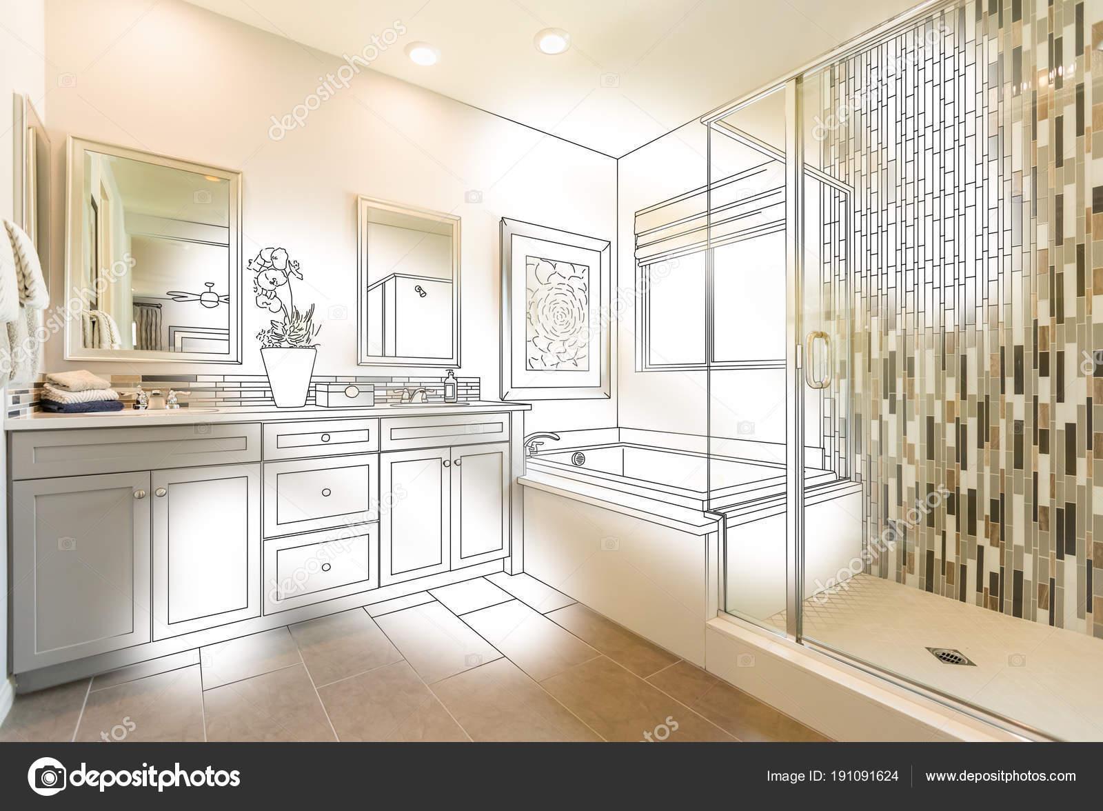 Vlastni Hlavni Koupelny Foto Tahem Stetce K Navrhu Vykresu Stock