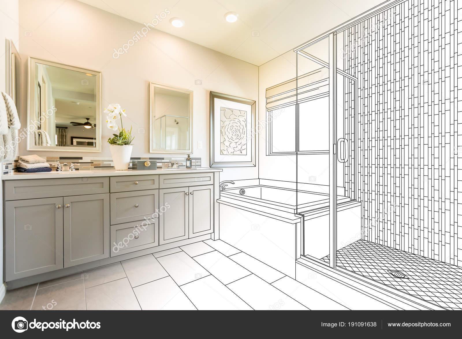 Aangepaste Master badkamer ontwerp tekening Gradating aan klaar foto ...