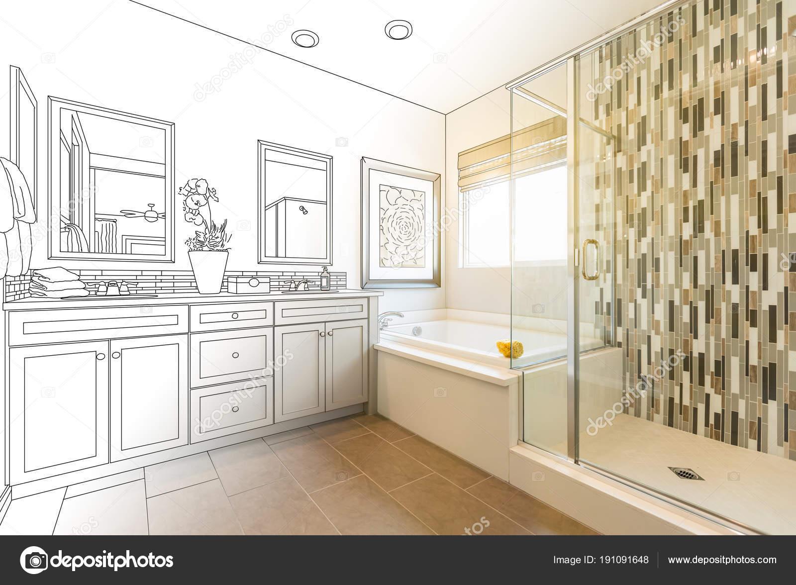 Custom Master Bathroom Design Drawing Gradating To Finished Photo