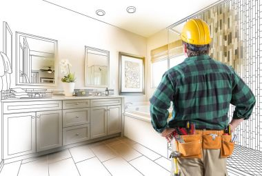 Contractor Facing Custom Master Bathroom Drawing and Photo Gradation.