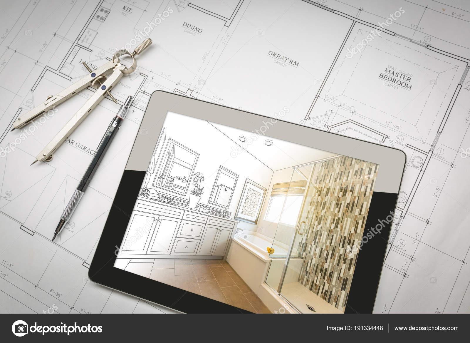 Ordinateur tablette avec Master Design de salle de bain sur ...