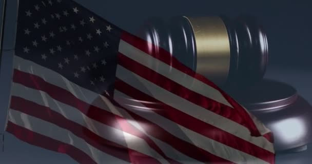 4k Gavel Rotation Closeup and Ghosted American Flag On Dark Background.