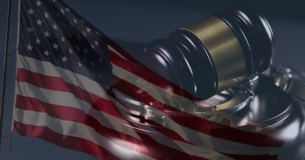 4k Handcuffs, Gavel Rotation Closeup and Ghosted American Flag On Dark Background.