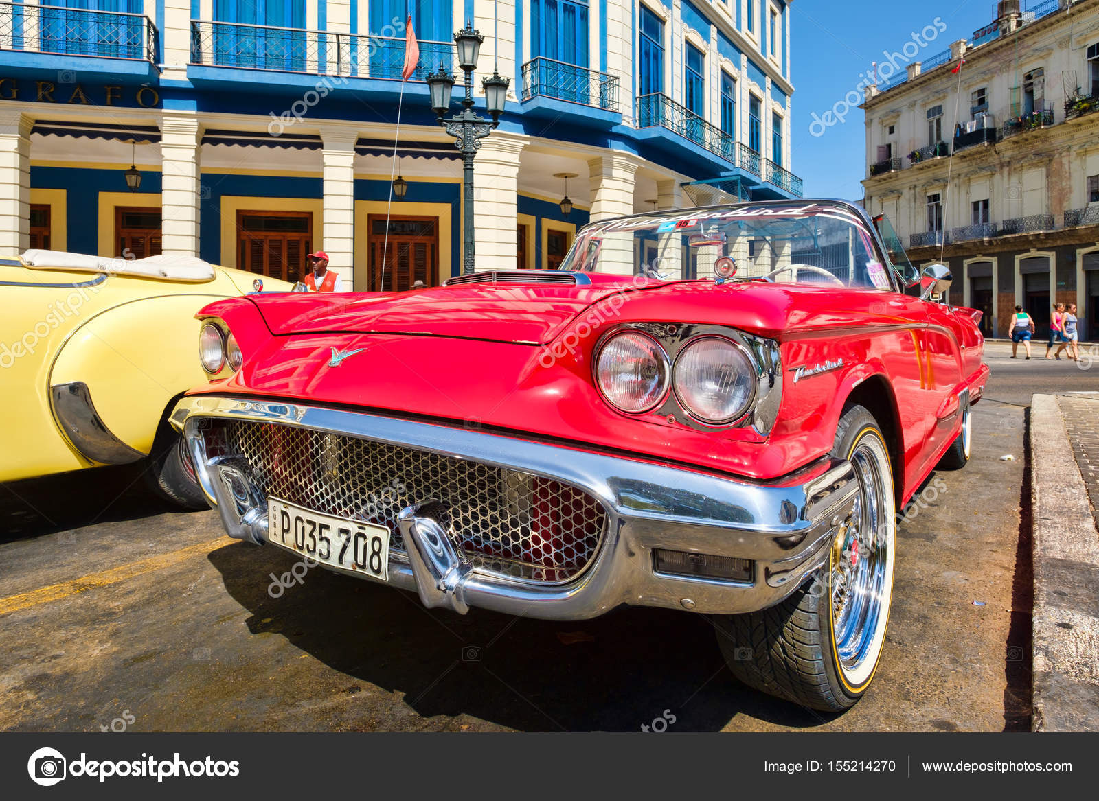 Vintage red Ford Thunderbird convertible car parked in Old Havana ...
